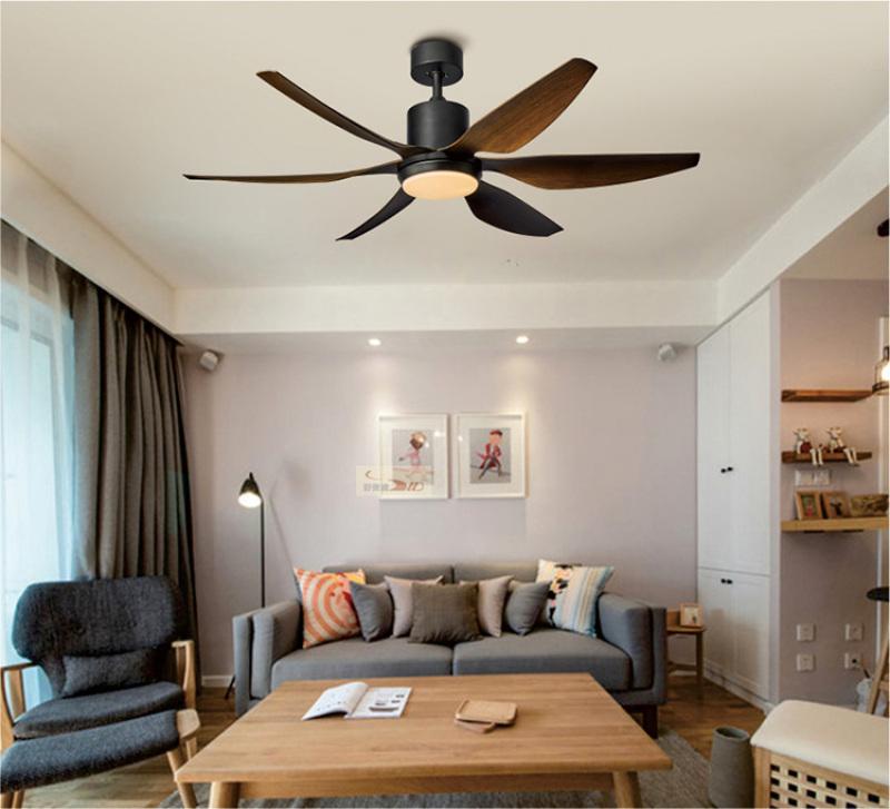 Không gian phòng khách hiện đại sử dụng quạt trần trang trí kết hợp đèn LED